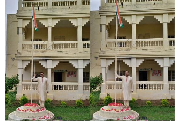 74th Independence Day celebrations were celebrated in the presence of Teacher at Maharishi Vidya Mandir Berasia. On this occasion, the principal of the school hoisted the flag.